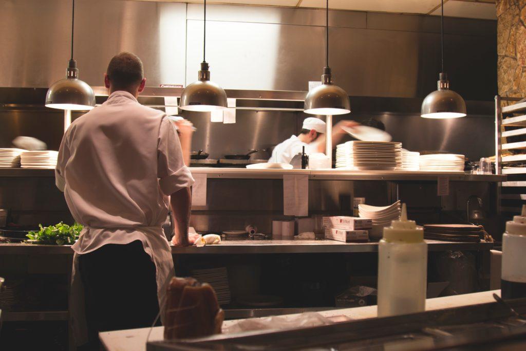 busy kitchen worktop